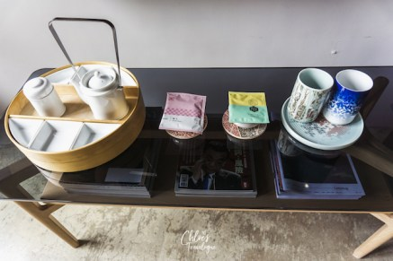 Play Design Hotel Taipei | MIT 3.0 Room - Traditional Taiwanese crafts, wood-carved bench, tea table - CHLOESTRAVELOGUE.COM