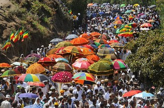 Ethiopia, Lalibela,Timkat festival Every year on january 19, Timkat marks the Ethiopian Orthodox celebration of the Epiphany The festival reenacts the baptism of Jesus in the Jordan River Wrapped in rich cloth, the church Tabots replicas of the Ar