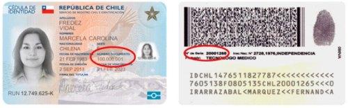 Número de serie o de documento de la cédula de identidad