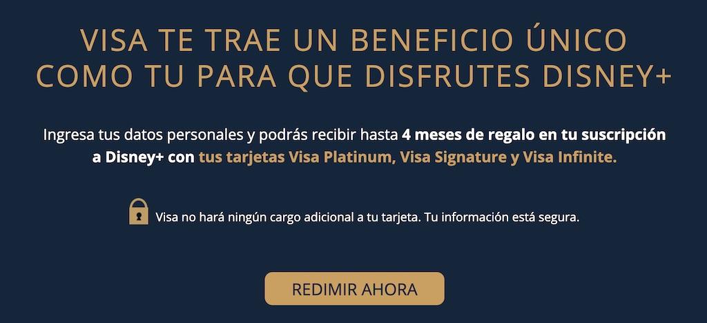 Los clientes Visa accederán hasta 4 meses gratis de Disney+ o Disney Plus