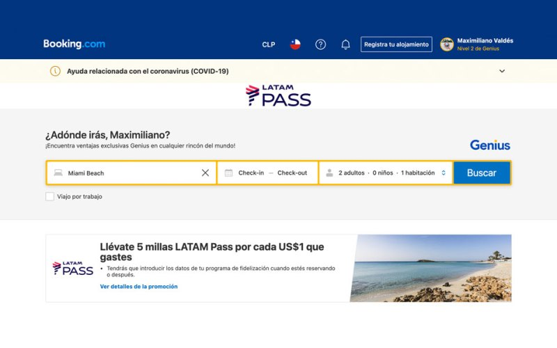 Acumulación de Millas LATAM Pass y beneficios Genius con Booking