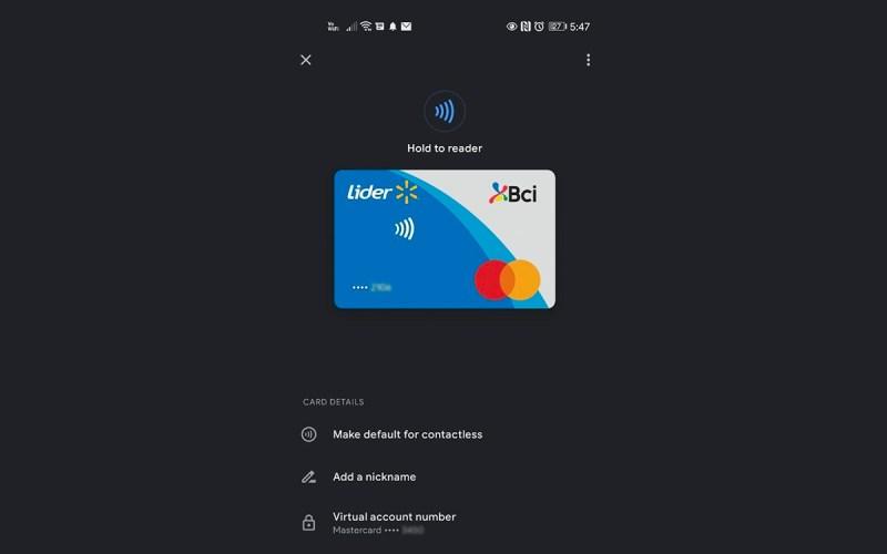 Tarjeta de crédito Lider Bci llegó a Google Pay