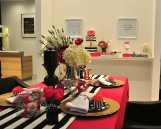 Kate spade inspired sweet table, pink black and gold sweet table