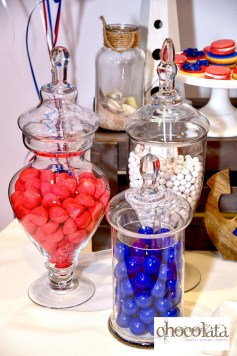 nautical sweet table, blue and red candy bar