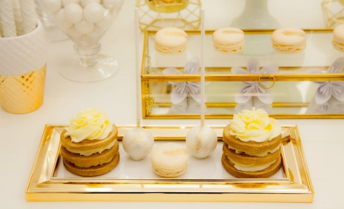 gold cake pops, white cake pops, macarons, sugar cookies