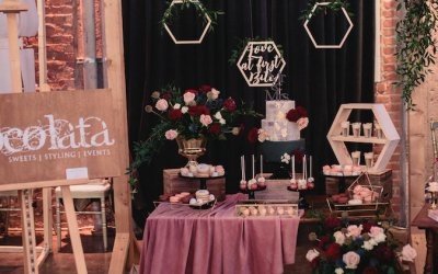 Burgundy and Black Rustic Boho Chic Dessert Table
