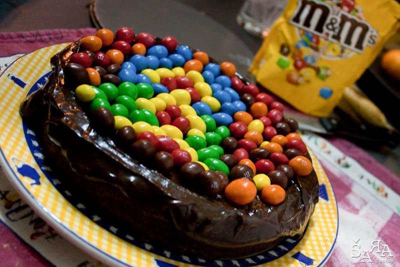bolo de chocolate com cobertura de chocolate