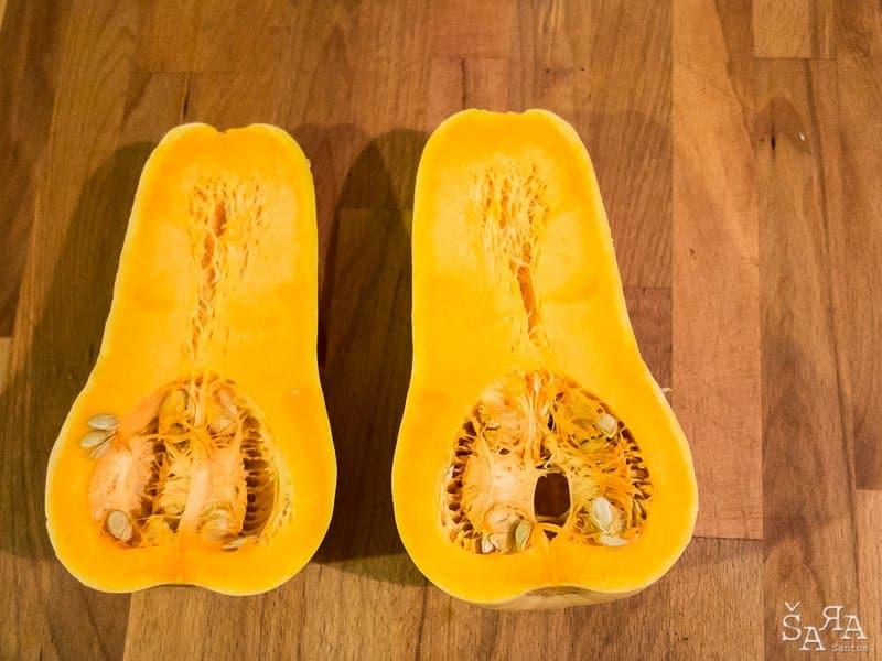 Abóbora manteiga recheada com pescada