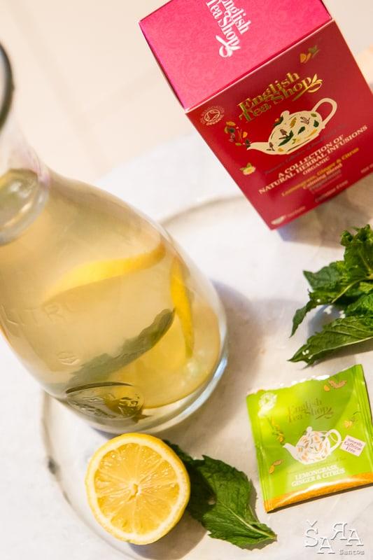 Chá gelado de limão gengibre e hortelã