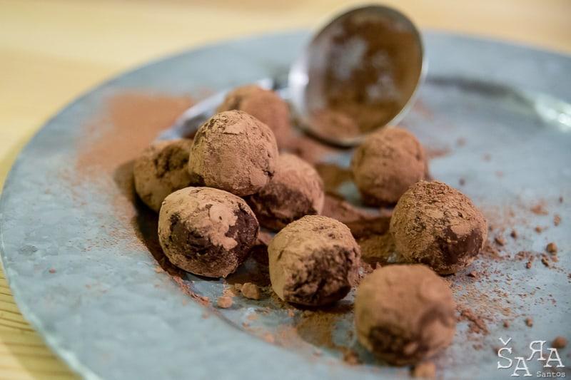 Trufas de chocolate e Biomassa de Banana verde