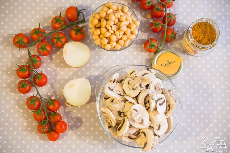 Gratinado de grão com cogumelos e tomate cherry ingredientes