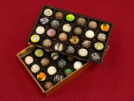 an extra-large double-layer 48-piece chocolate truffle assortment