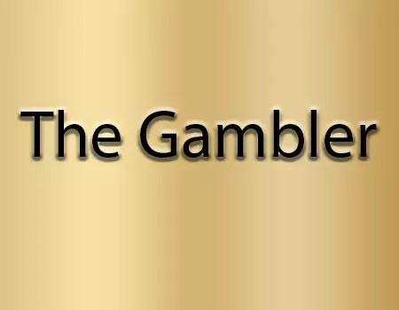 "A gold background with the words ""The Gambler"" on top of it."