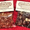 Two bags of potato chip bark side-by-side, one milk chocolate and one dark chocolate
