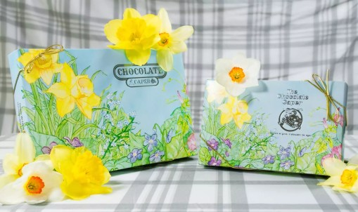 Small and large daffodil flower-covered boxes