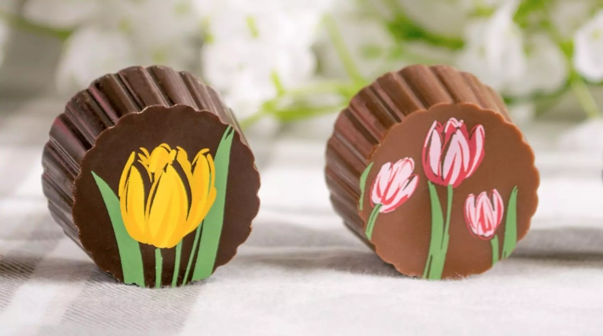 A row of two truffles - one each of dark with yellow tulips and milk with pink tulips, all in front of a flower background