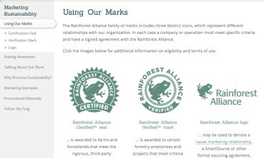 Rain Forrest Alliance logos from http://www.rainforest-alliance.org/business/marketing/marks