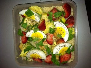 My typical work eats: whole wheat couscous, strawberries, mint, eggs, pepper, sea salt, EVOO