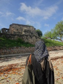 The contrast between 'centuries ago Kilwa' and 'Kilwa today'.