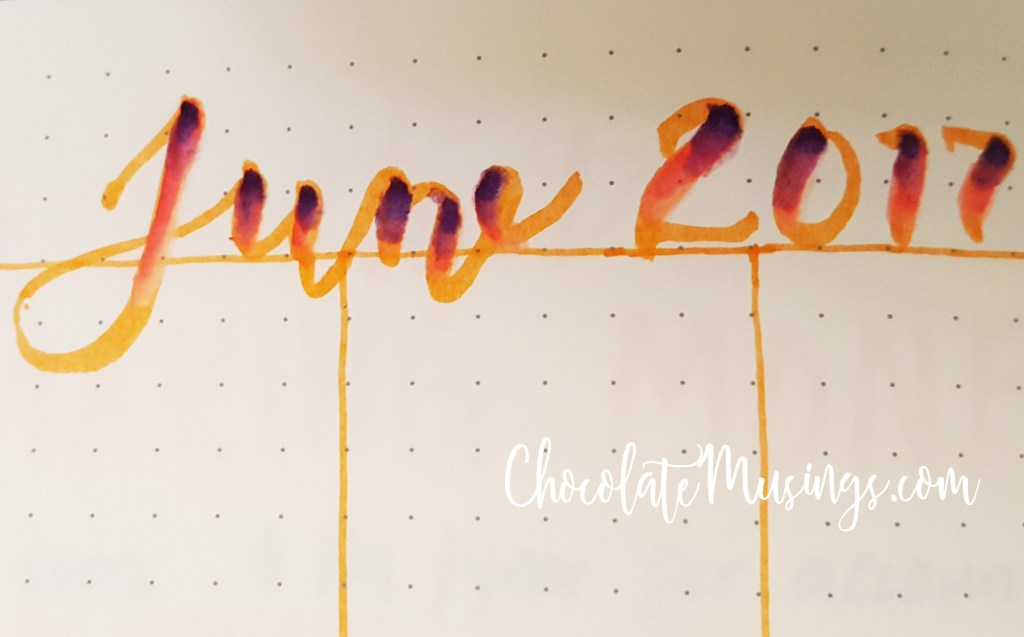 closeup of june's hand lettering