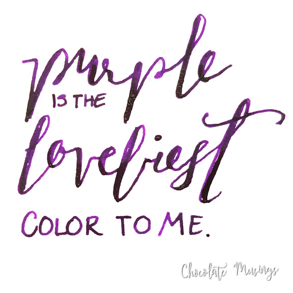 Purple is the loveliest color to me, handwritten