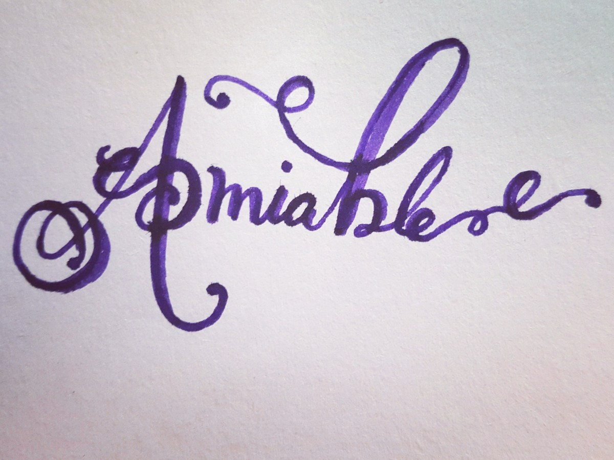 Amiable with flourishes