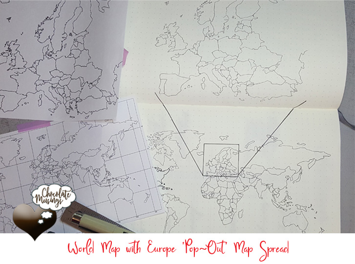 "World Map and European ""pop-out map"" Spread in your Bullet Journal"