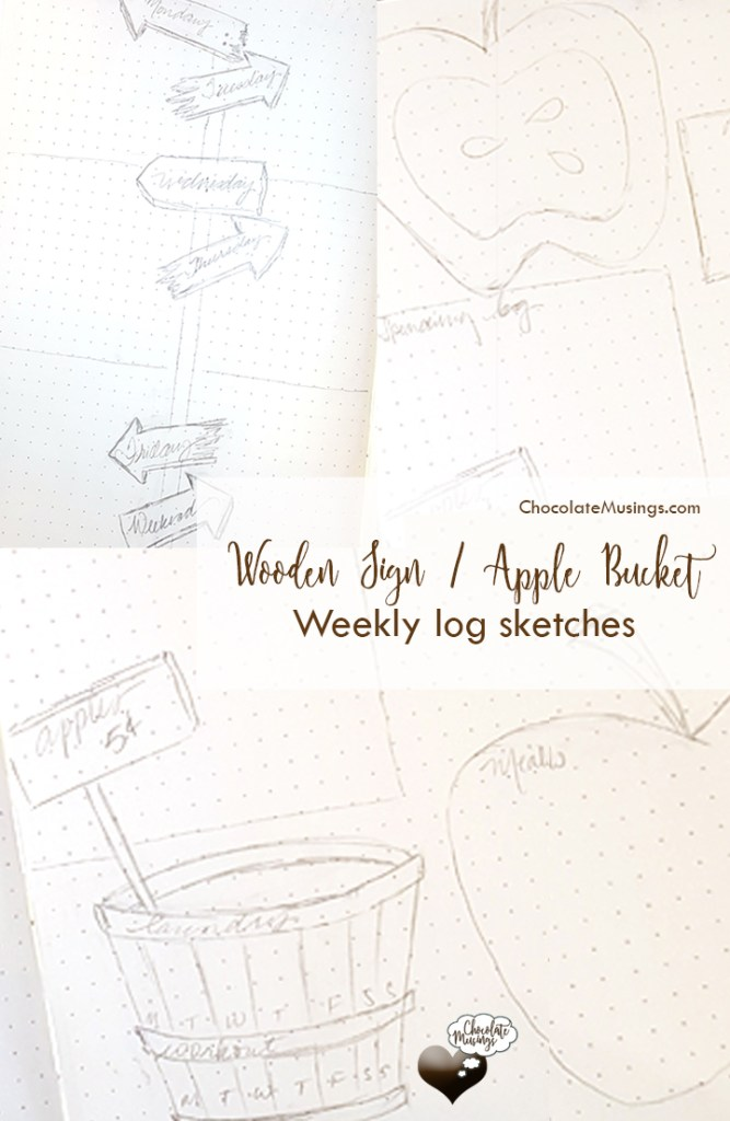 Fall weekly log/layout sketches with wooden signs, apple collection bucket and ripe apples for the picking!