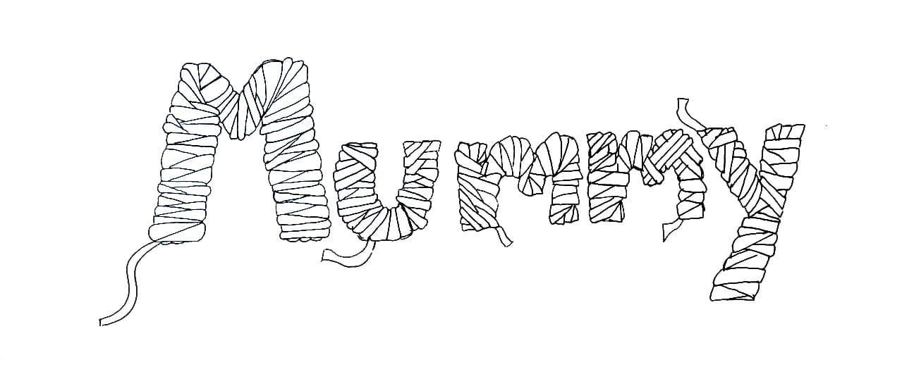 How to draw mummy text