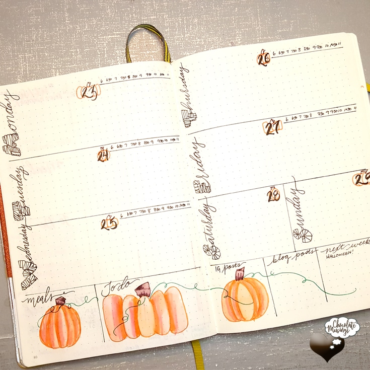 Weekly Horizontal Bullet Journal with mini-time blocking and cute pumpkin doodles