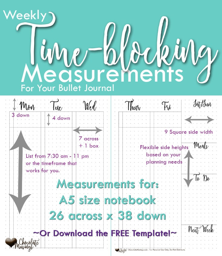 Vertical Time-Blocking Bullet Weekly Journal Layout with measurements A5 notebook dot grid size,