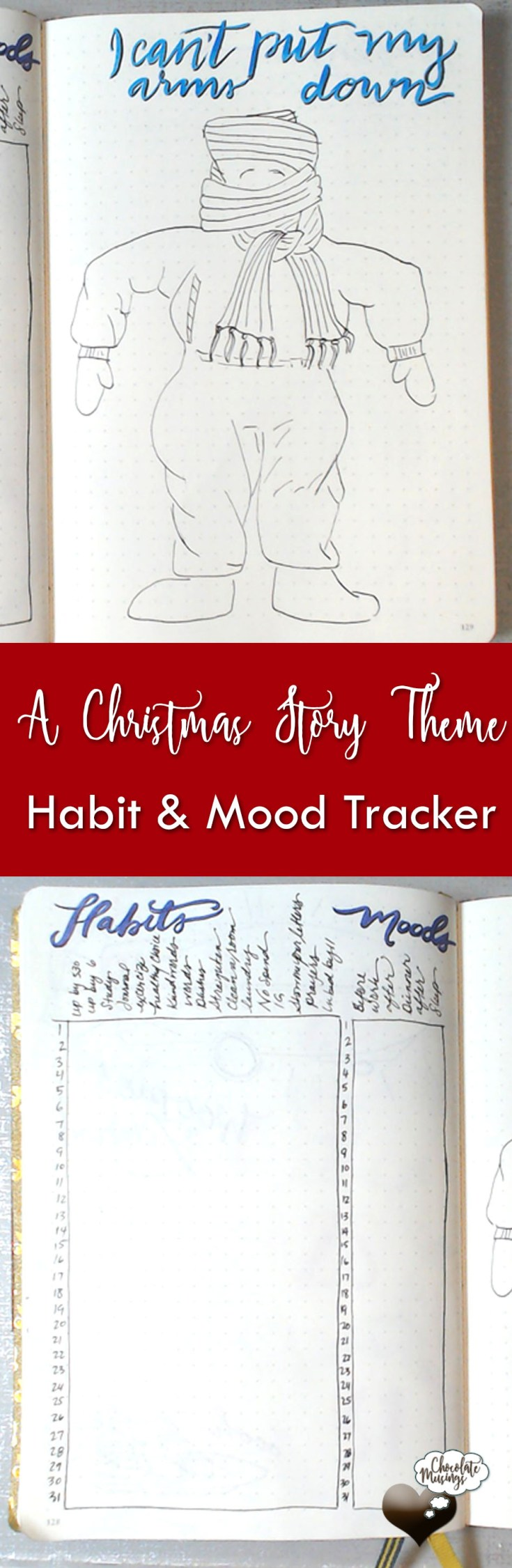 """December Habit & Mood Tracker goes perfect with A Christmas Story """"I can't put my arms down"""" quote - Vertical layout"""