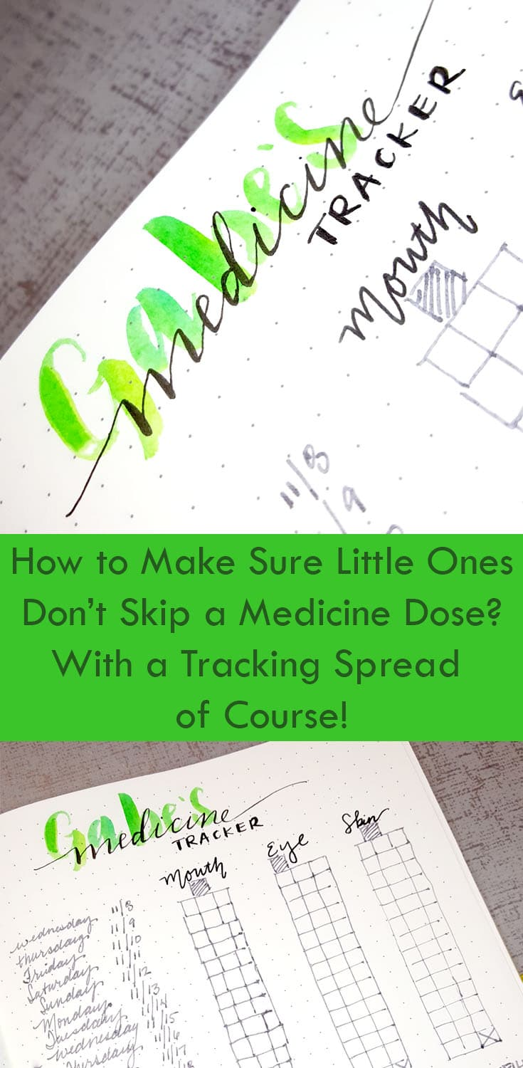 medicine tracking spread, use your bullet journal to remember for you
