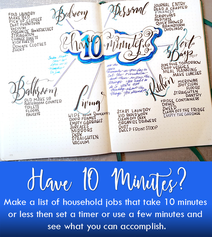 have 10 minutes make a bullet journal collection with a list of household jobs that