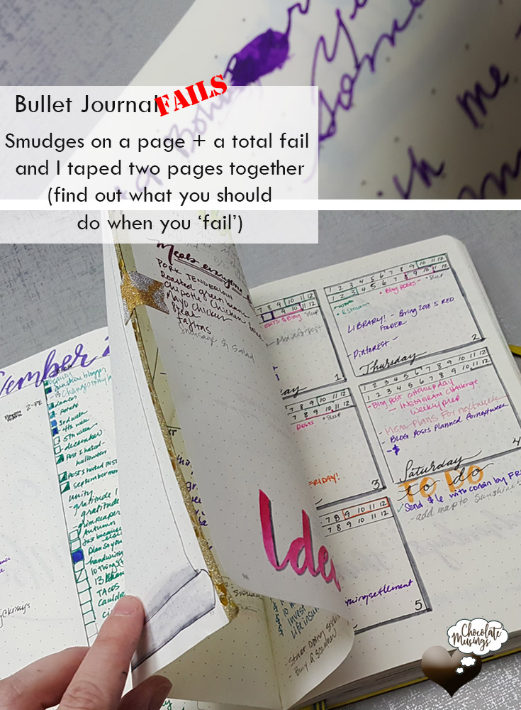 Bullet Journal Fails: Smudged words and a page so bad I taped it together