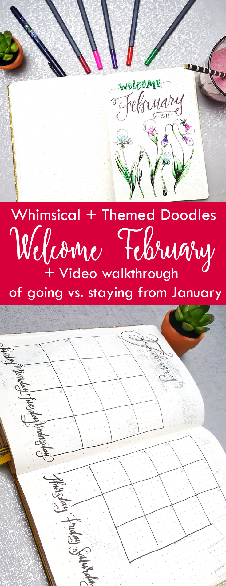 February Doodles + what's staying vs. what's going from January's plans + video walk through
