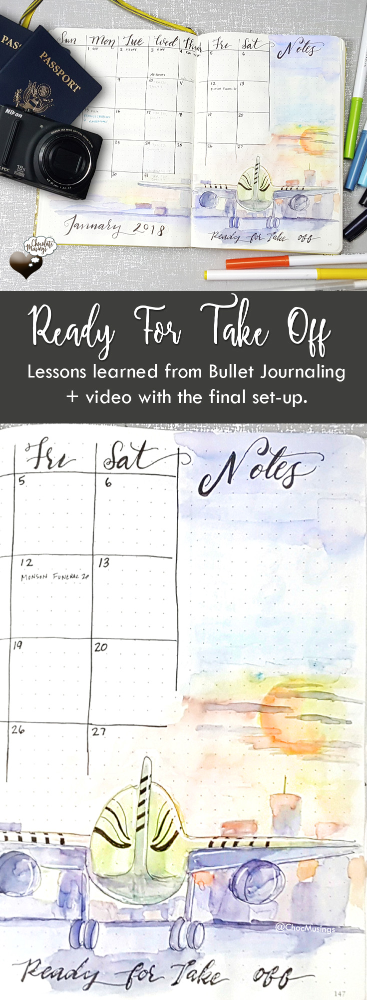 "Monthly Calendar Set up with theme - ""Ready for Take Off"" - lessons learned from bullet journaling + process video"