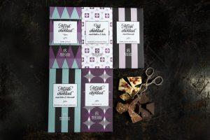 Chokladplattor med olika mönster förpackningar
