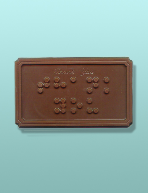 Thank You Braille Chocolate Plaque