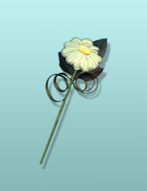 Chocolate Daisy Flower Long Stem Party Favor