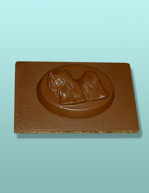 Chocolate Lhasa Apso Dog Flat Plaque