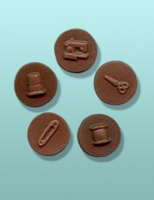 2 pc. Chocolate Sewing Round Mini Favor
