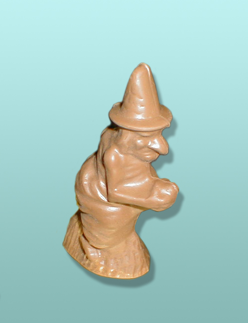3D Chocolate Witch Flying on Broom