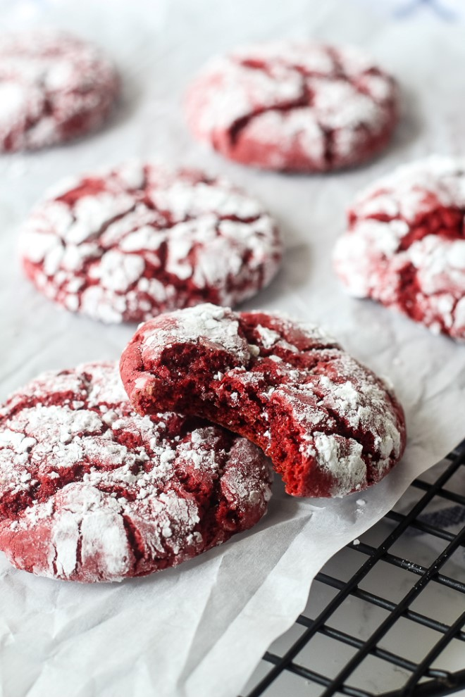 Cake Mix Red Velvet Crinkle Cookies - Chocolate With Grace
