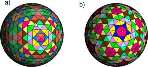 Podział geodezyjny na bazie: a) sześcianu,b) dwunastościanu