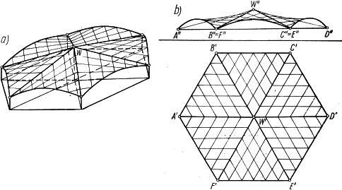 Przekrycie nad sześciokatnym rzutem, złożone z sześciu jednakowych płatów trójkątnych