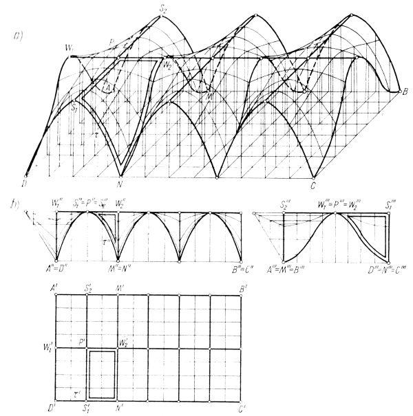 Przekrycie zestawione z trzech płatów powierzchni klinowe