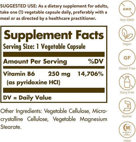 미국 직구 식물성 캡슐 비타민 B6