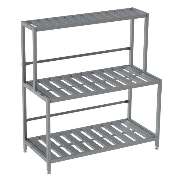 "Double Deep 3 Shelf Base Unit, Bottom Row Kegs on Shelf 8"" Off Floor"