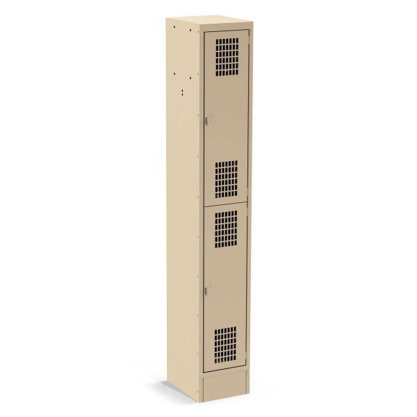 1 Column, Perforated 2 Door Tan Locker